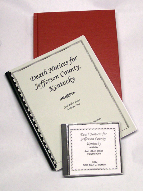 Electronic, hard and soft cover editions of Jefferson, Co. KY research book