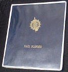 custom 3-ring window binder with foil imprinted blue lexitone insert